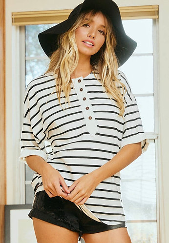 Stripes and Buttons Crew Neck Top