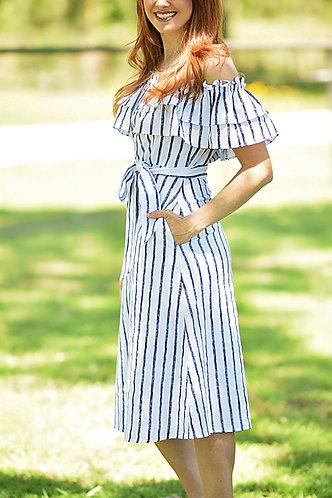 Let's Sail Away Ruffle Dress