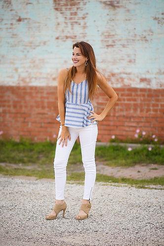 Hello Moto Jeans White