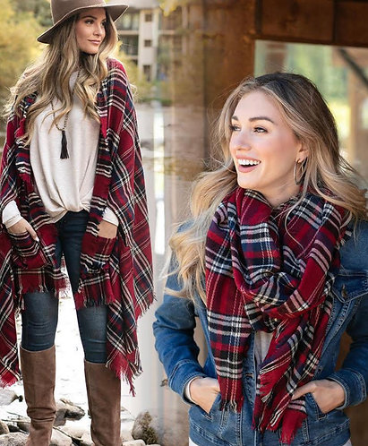 Christmas Plaid Pocket Poncho Scarf
