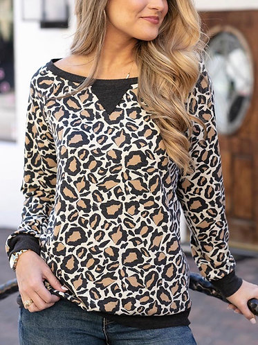 Leopard Slouch Pullover