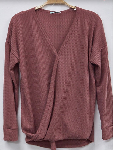 Marsala V Neck Cozy Top