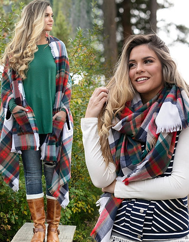Winter Weight Pocket Poncho Scarf