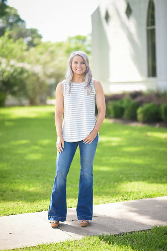 Sleeveless Striped Tee