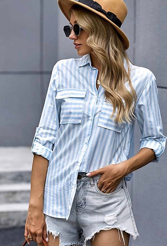 Spring Striped Button Down Top