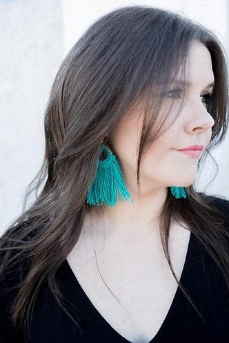 Handmade Fringe Earrings - Turquoise
