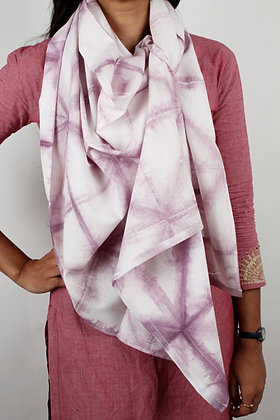 White handwoven cotton scarf with delicate pale purple resist dyed pattern