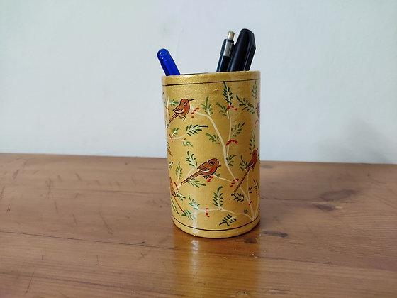 Hand Painted, Papier Mâché Pen Stand
