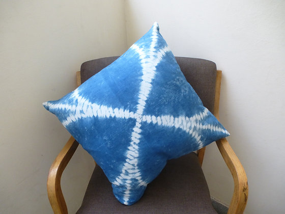 Indigo Cushion Cover with Spiderweb Design