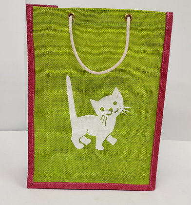 Jute Bag with different print on back and front, contrasting piping and rope handles