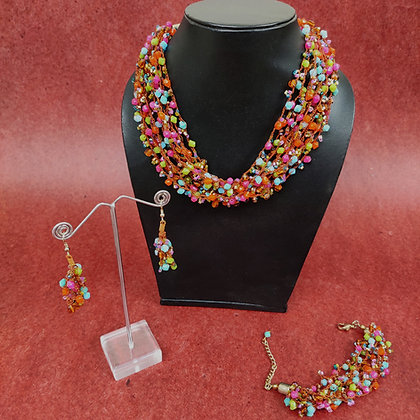 Multi-coloured multi-strand necklace and bracelet with matching cluster drop earrings