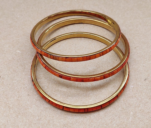 Set of three brass and resin bangles from MESH's jewellery collection