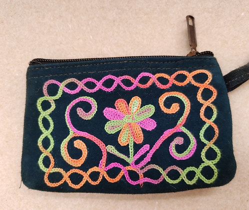 Black suede leather money purse decorated with multi-coloured crewel embroidery flower