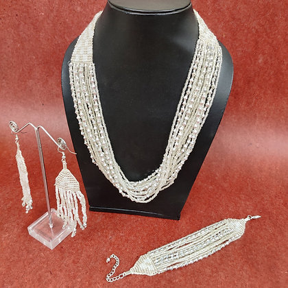 White glass bead multi-strand necklace, bracelet and earring set
