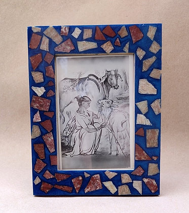 Hand-Crafted, Resin and Stone Picture Frame