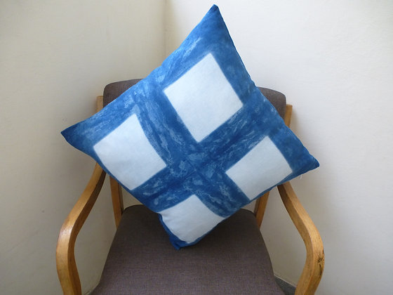Indigo Cushion Cover with Squares