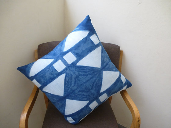 Indigo Cushion Cover with Triangles