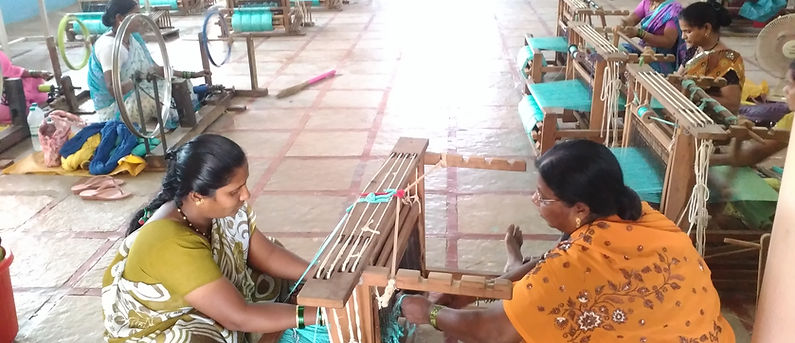 Weavers from a leprosy colony provide MESH with lovely handwoven cotton table linen for export around the world. MESH provides them with design, marketing and capacity building support.