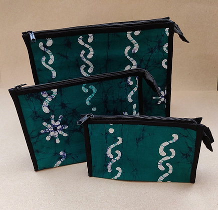 Set of three geen, white and blue batik cosmetic bags.  Small, medium and large sizes with black zips