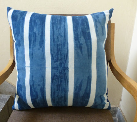 Indigo Cushion Cover with Stripes