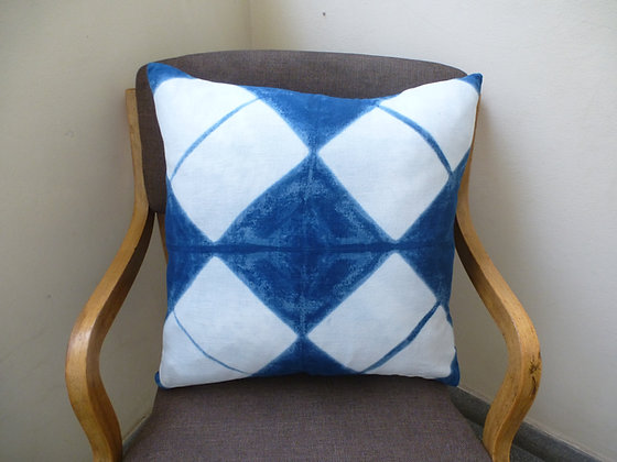 Indigo Cushion Cover with Diagonal Squares