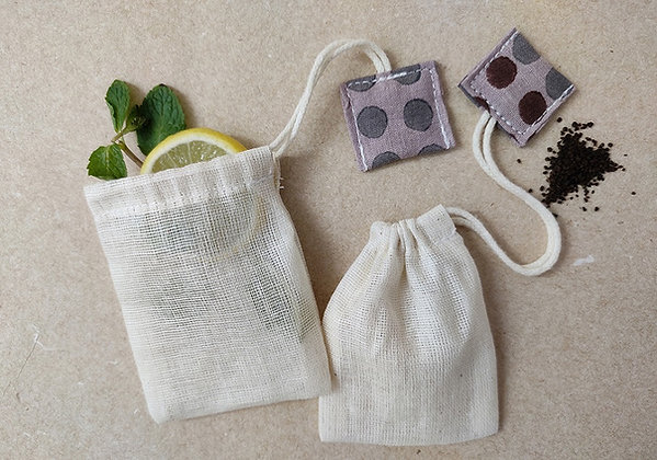 Organic Cotton Reusable Tea Bags (set of 6)