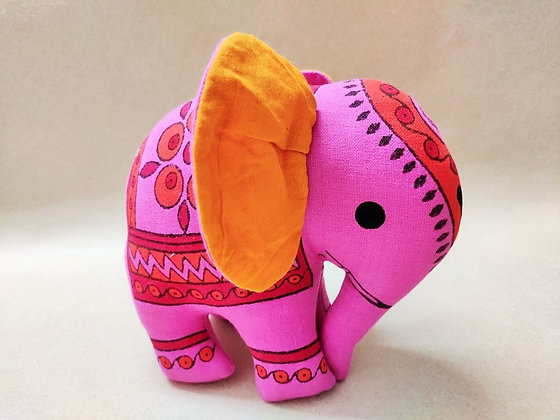 Block Printed Large Elephant Soft Toy