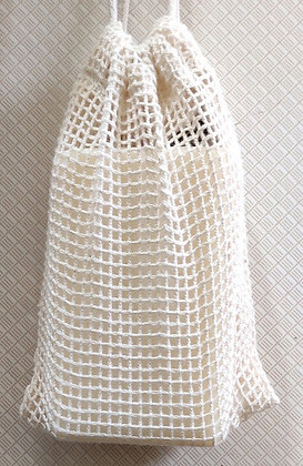 Small net soap bag with soap inside