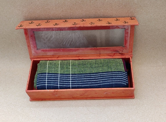 Organic Cotton, Hand-Woven Scarf in Handmade Box