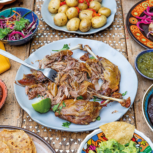 Duck Carnitas with Snacks, Garnishes & Sides