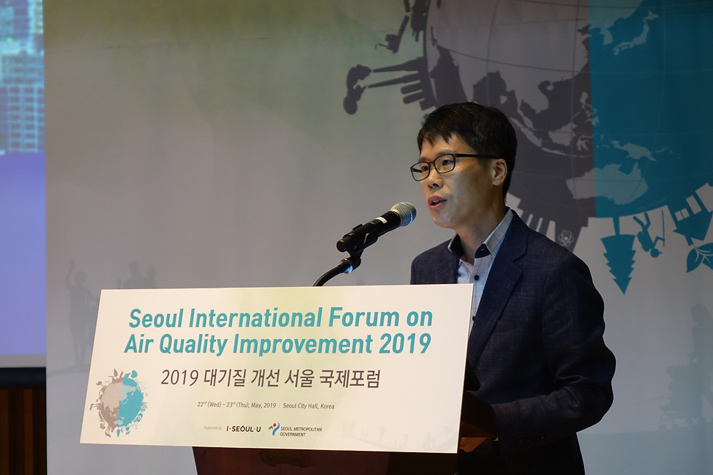 Dongjun Ha from the Seoul Metropolitan Government presented the city's responses to fine dust in the transportation sector.