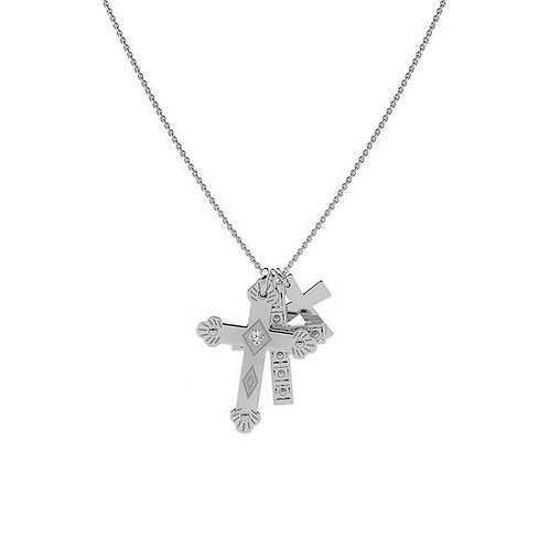 Collar Tres Cruces Plata