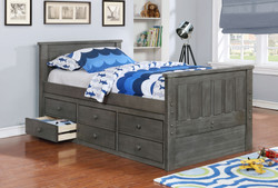 Jordan Twin Bed with Waterford Captain's Storage and Modesty Panel Weathered Grey