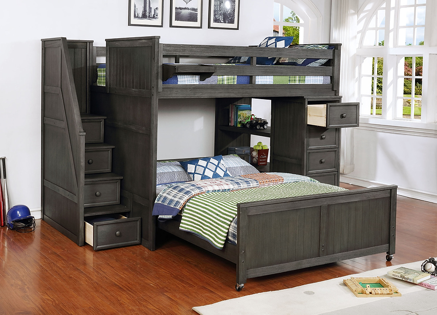 Multifunction Full over Full Bunk Bed Weathered Grey