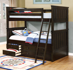 Jordan Twin over Twin with Waterford Captain's Storage Weathered Espresso