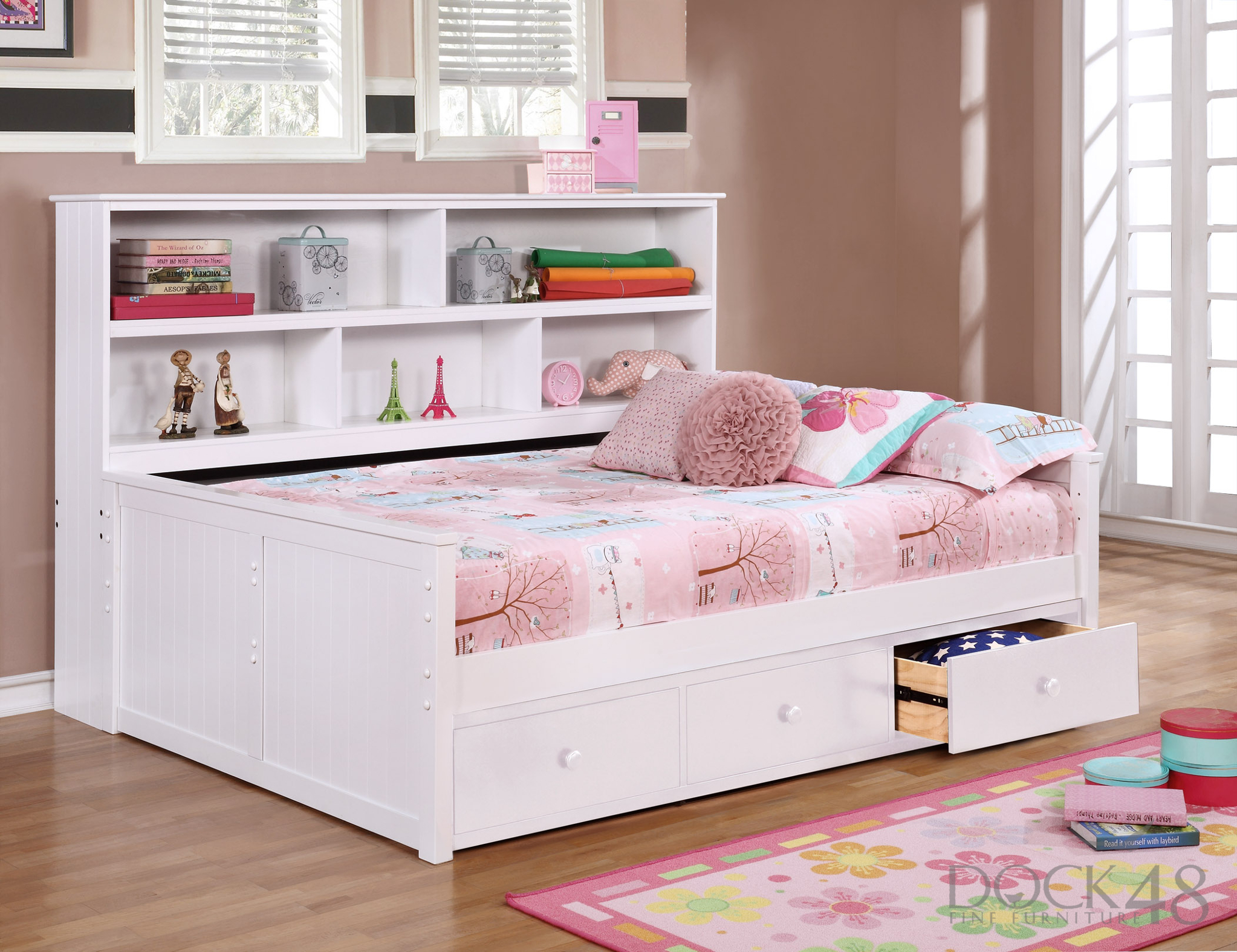 Sideways Full Bed with Waterford 3 Drawer Storage White