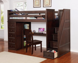 Multifunction Twin Loft Bed with Desk and Stairs Weathered Espresso_1
