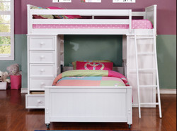 Student Loft Twin over Twin Bunk Bed White W