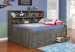 Sideways Full Bed with Waterford Captain's Storage Weathered Grey