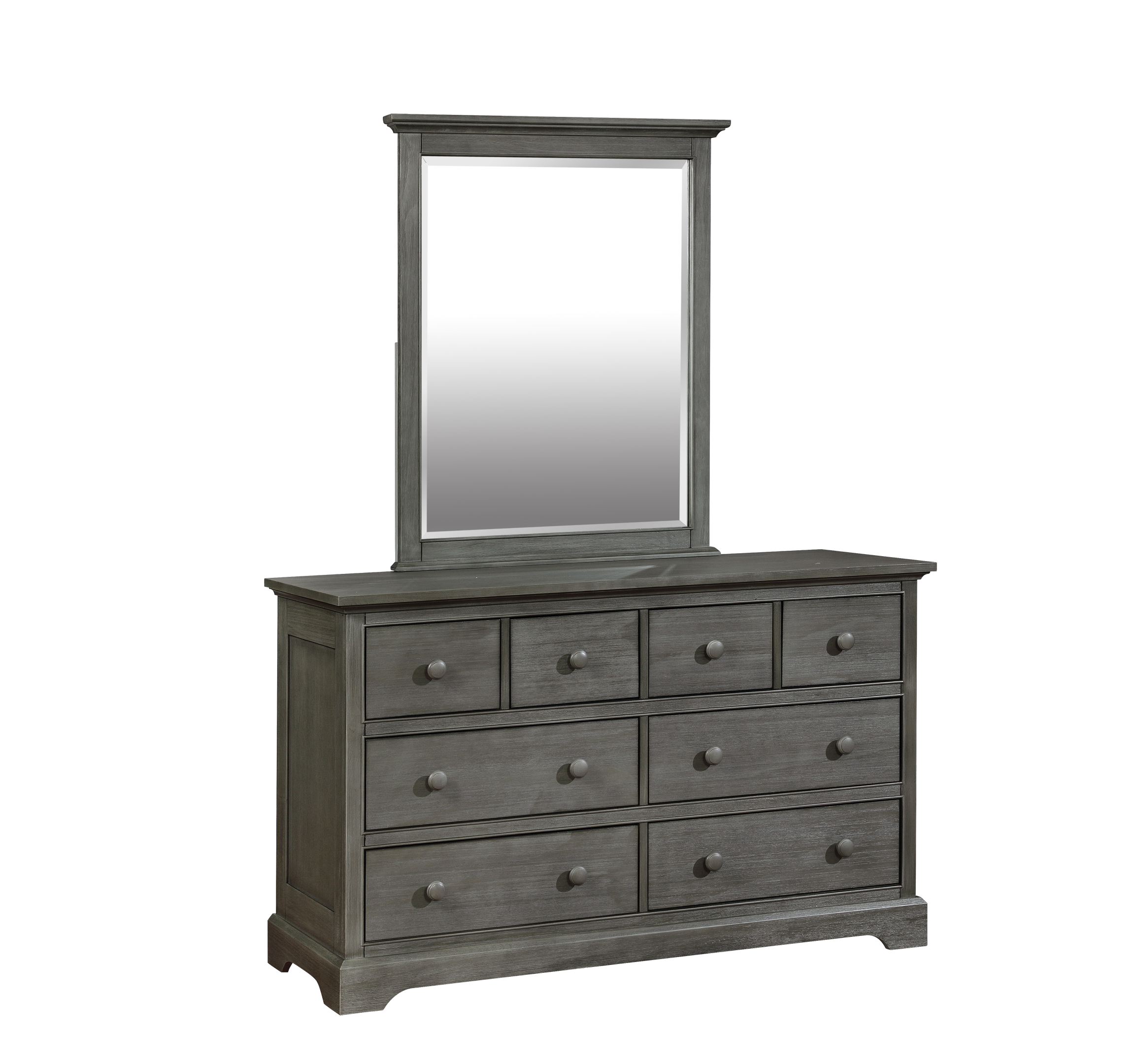 Waterford 8 Drawer Dresser with Waterford Mirror Weathered Grey