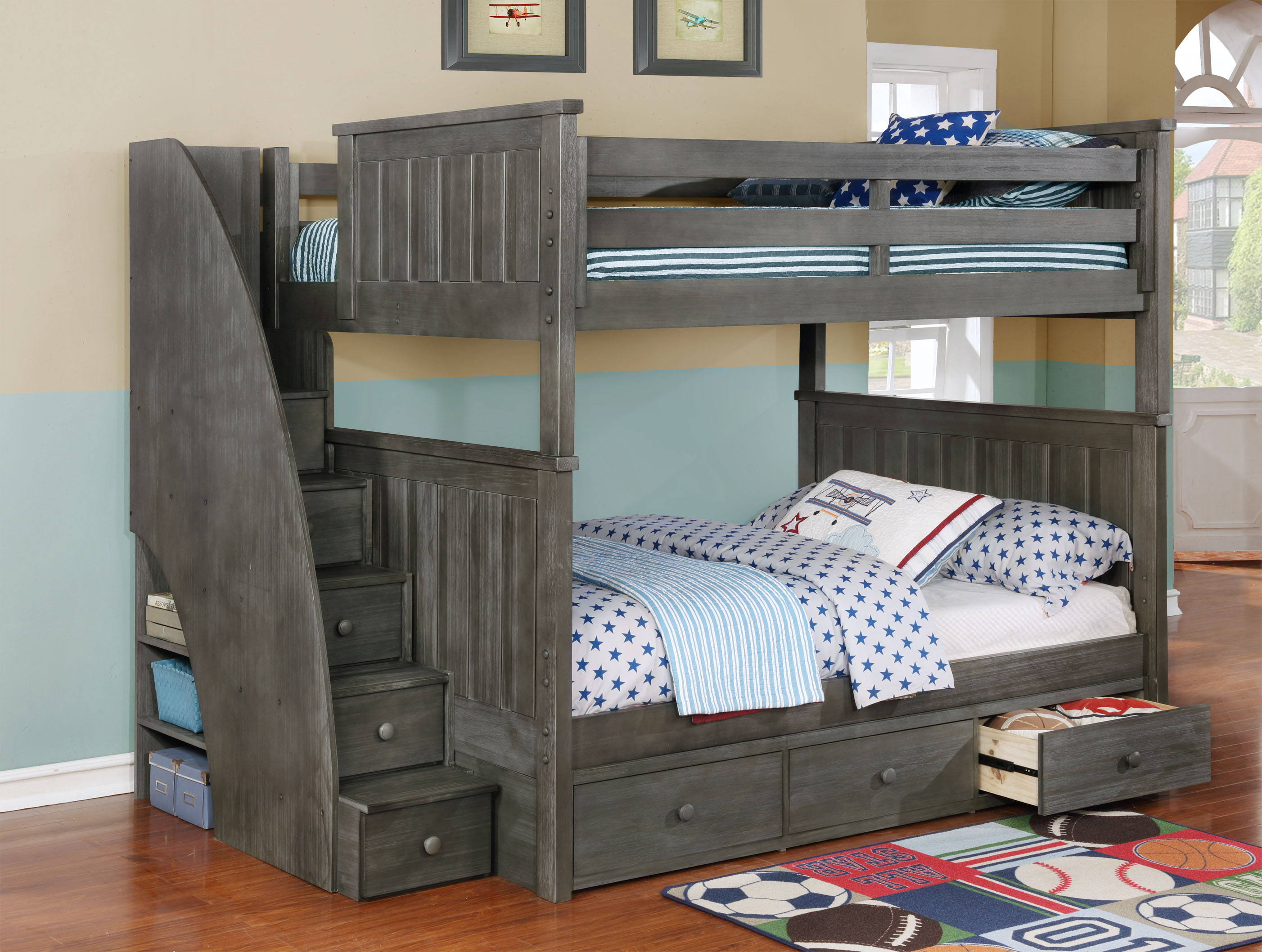 Jordan Full over Full Bunk Bed with Staircase and Waterford 3 Drawer Storage Weathered Grey