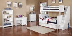 Jordan Twin over Full Bunk Bed with Stairs and Waterford Collection White