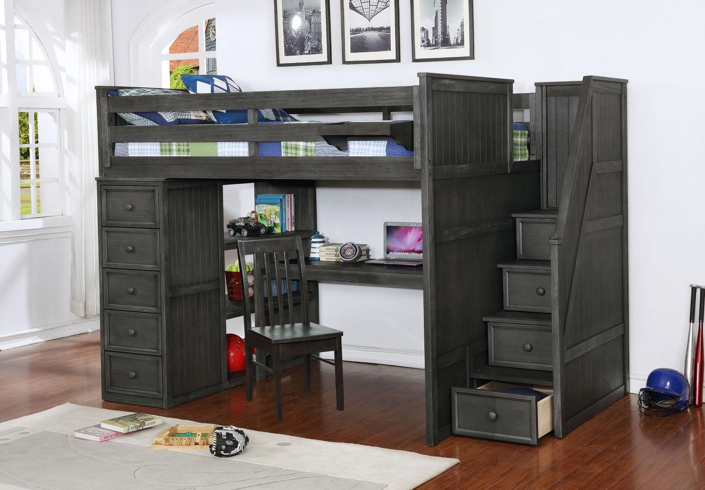 Full Multifunction Weatherd Grey Desk Option