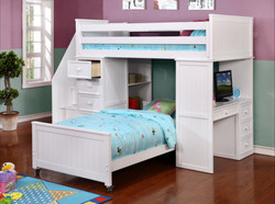 Student Loft Twin over Twin Bunk Bed with Stairs White WS