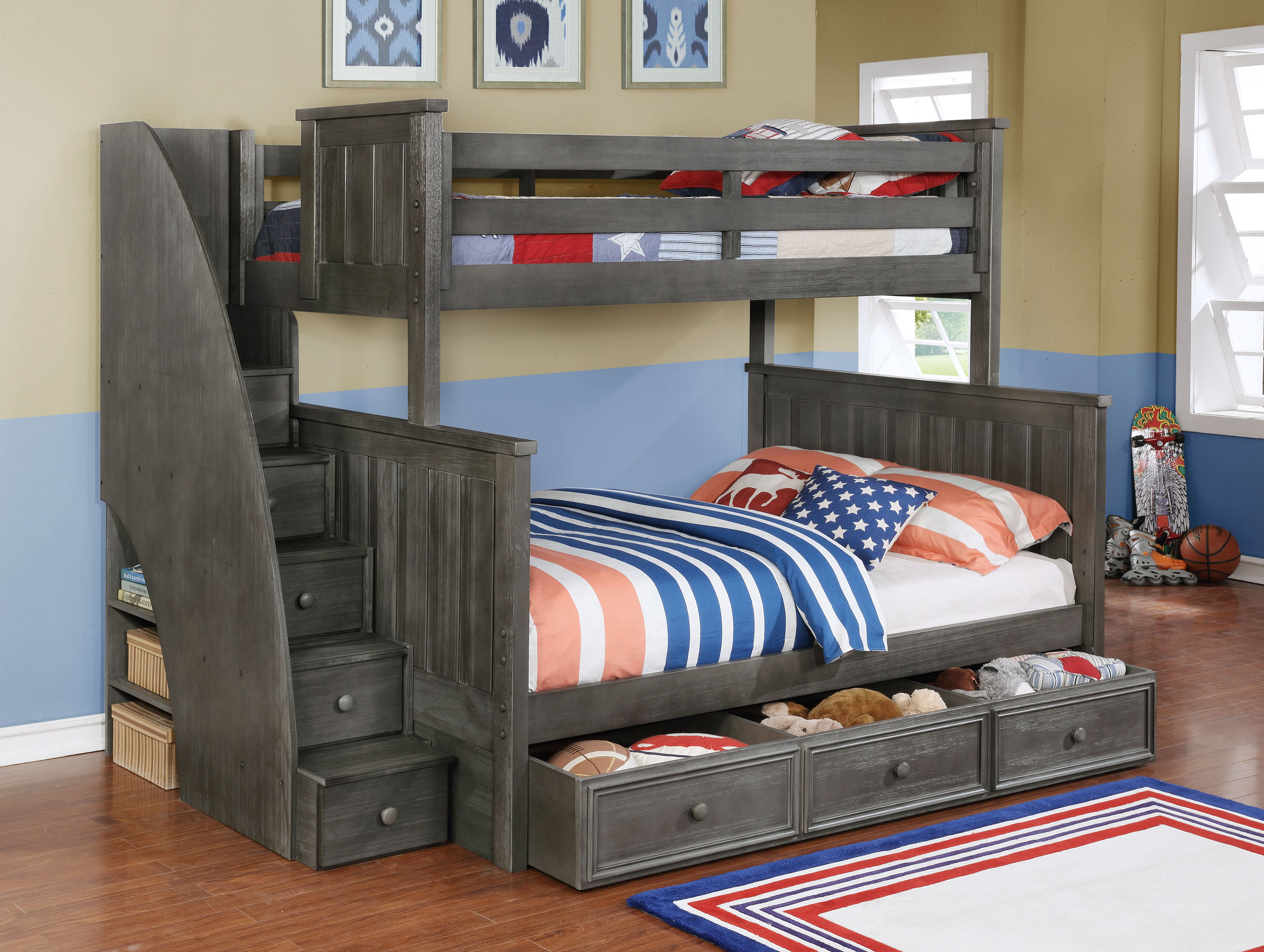 Jordan Twin over Full Bunk Bed with Staircase and Summerlin Trundle Weathered Grey