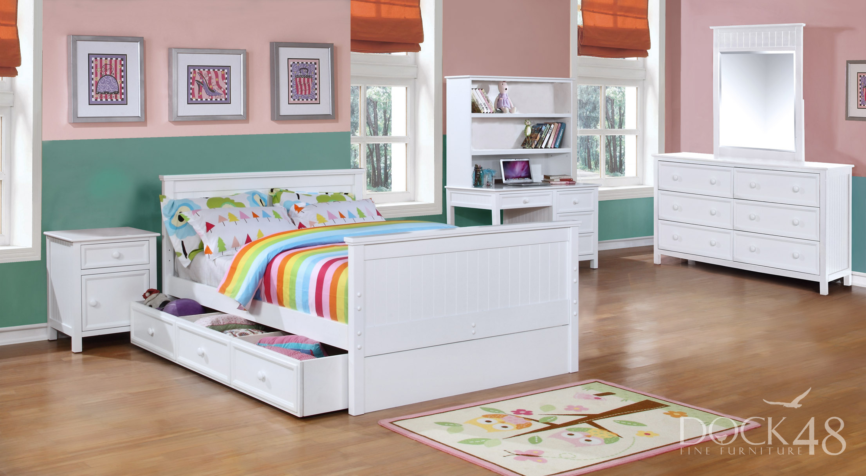 Beadboard Full Bed with Summerlin Collection White