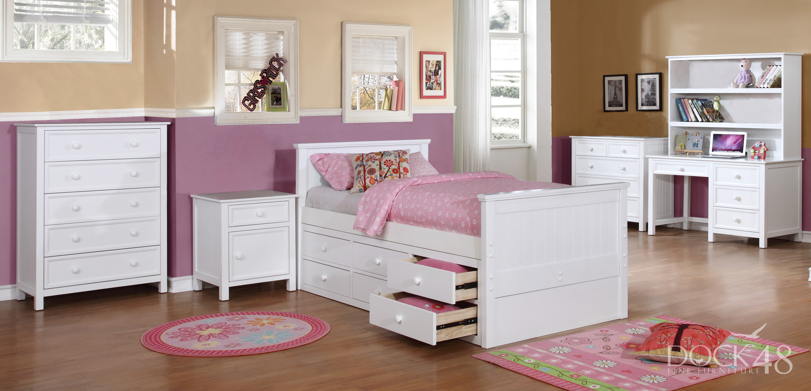Beadboard Twin with Summerlin Collection and Modesty Panel White