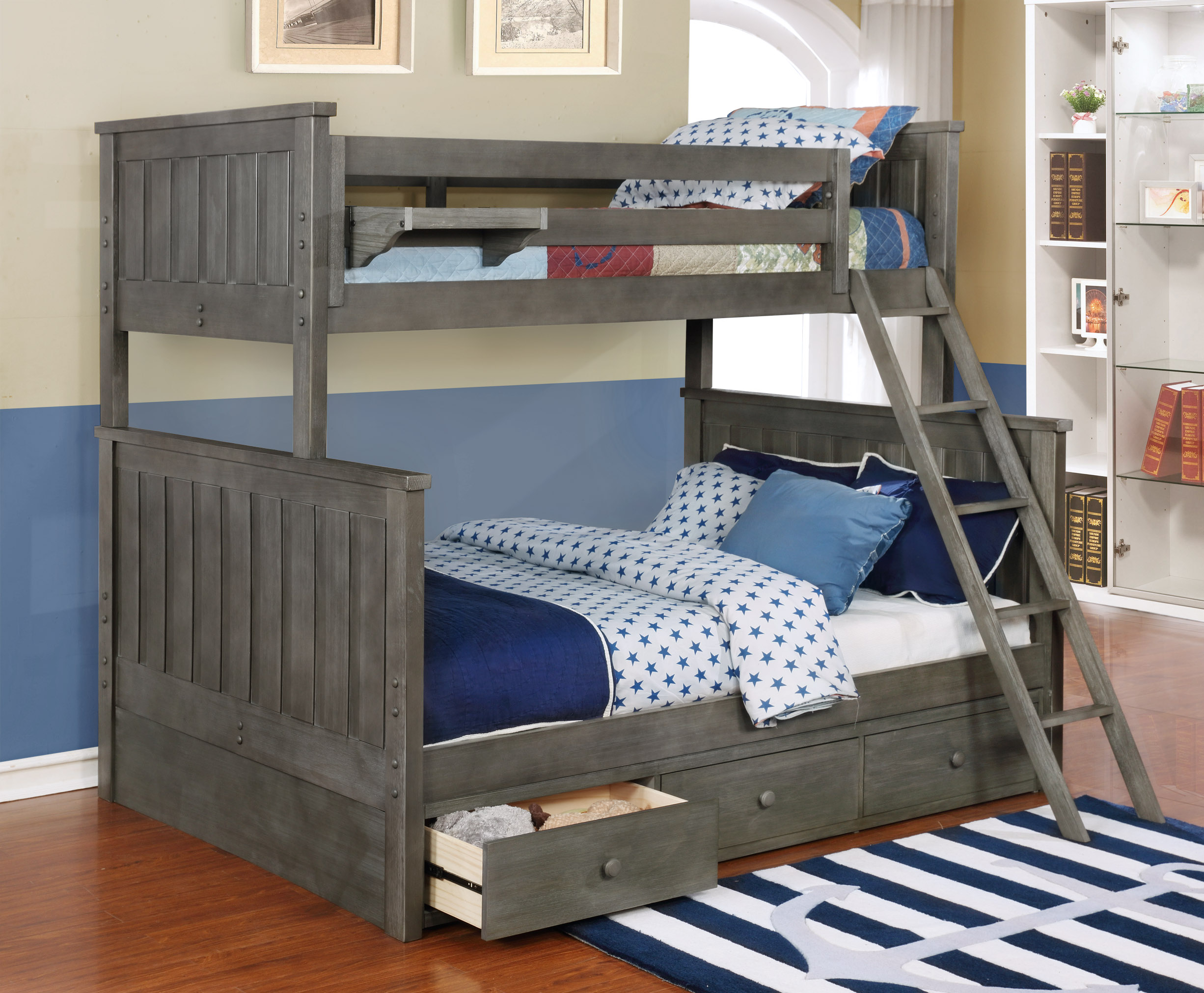 Jordan Twin over Full Bunk Bed with Waterford Trundle Weathered Grey