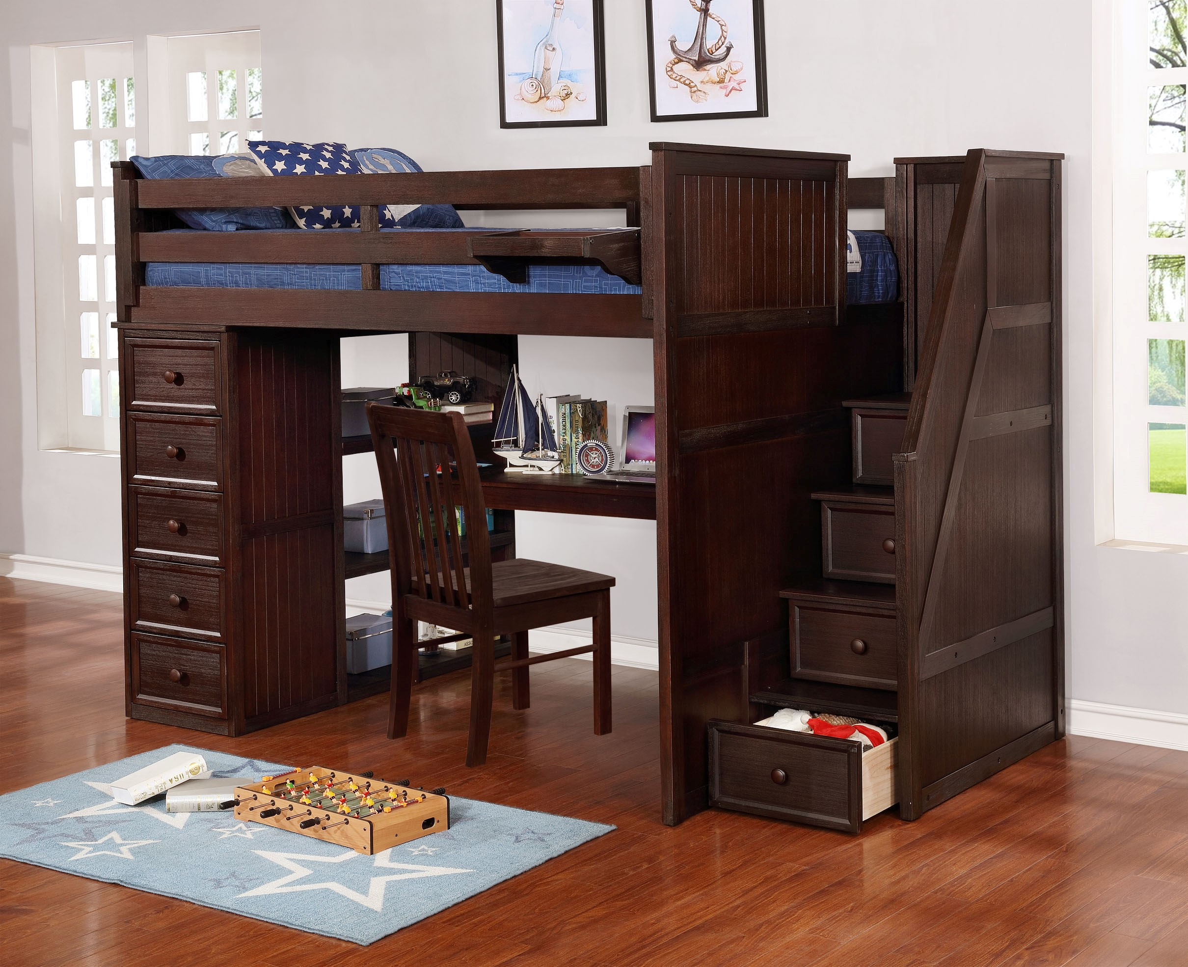 Multifunction Full Loft Bed with Desk and Stairs Weathered Espresso_1