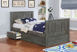 Jordan Twin Bed with Waterford 3 Drawer Storage and Modesty Panel Weathered Grey